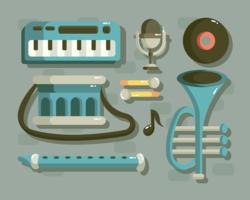 Vetor de knolling de instrumento musical