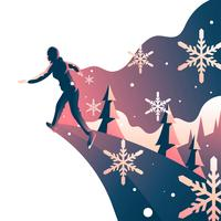 Mulher, jogo, gelo, patinação, imaginação vetor