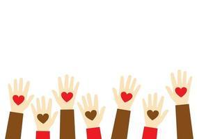 Pare o ícone do racismo. conceito de matéria de vidas negras. corações nas mãos. modelo para plano de fundo, banner, cartaz com texto. mãos segurando um coração, dar e compartilhar amor com o conceito de pessoas vetor