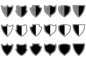 coleção de escudo de vetor em diferentes formas. símbolo de proteção. ícones de segurança. ícones de escudo em estilo simples, isolado no fundo branco. Pictograma de 170x170 pixels. vetor