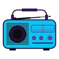 estação de rádio colorida. rádio na cor roxa com antena, escala. vetor