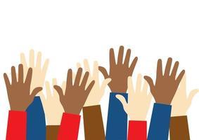 Pare o ícone do racismo. conceito de matéria de vidas negras. levantaram as mãos de pessoas com diferentes cores de pele. justiça e nenhum conceito de racismo. modelo para plano de fundo, banner, pôster com texto vetor