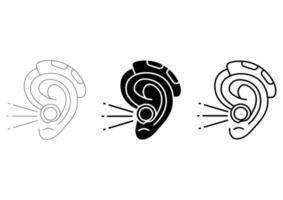 amplificador auditivo. intensificador de som acústico em contorno e estilo de glifo. terapia da perda auditiva. amplificação, dispositivo médico de escuta auxiliar. curso editável. vetor
