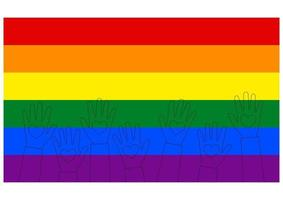 sinalizador lgbt. levantou as mãos de pessoas com corações no estilo do contorno. modelo de design, ilustração vetorial. amor vence. Símbolo do logotipo LGBT nas cores do arco-íris. fundo têxtil do orgulho gay vetor