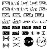 ícone de transmissão ao vivo. conjunto de ícones de transmissão ao vivo. símbolos pretos e botões para streaming, registro, transmissão online. modelo do terço inferior para tv, programas, filmes e performances em tempo real vetor