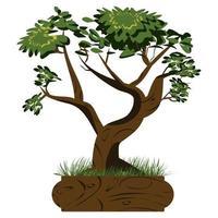 árvore bonsai. árvore bonsai japonesa na panela e com grama ao redor. ícones de plantas isolados no fundo branco. imagem detalhada. vetor