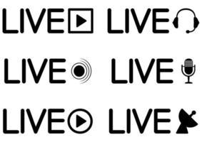 ícone de transmissão ao vivo. conjunto de ícones de transmissão ao vivo. símbolos pretos para streaming, registro, transmissão online. conjunto de botões de transmissão, com fones de ouvido e microfone. vetor