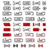 ícone de transmissão ao vivo. conjunto de ícones de transmissão ao vivo. símbolos pretos e vermelhos para streaming, registro, stream online. curso editável. conjunto de botões de transmissão. vetor