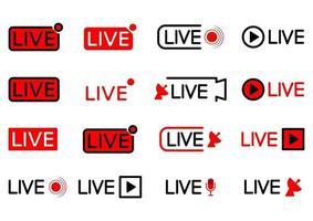 ícone de transmissão ao vivo. conjunto de ícones de transmissão ao vivo. símbolos pretos e vermelhos para streaming, registro, stream online. conjunto de botões de transmissão em diferentes formas. vetor
