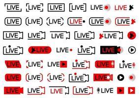 ícone de transmissão ao vivo. conjunto de ícones de transmissão ao vivo. símbolos pretos e vermelhos para streaming, registro, stream online, show. conjunto de botões de transmissão, em estilo simples, isolado no fundo branco vetor