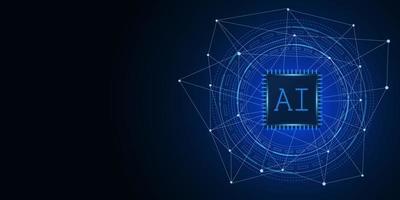 inteligência artificial, chipset IA na placa de circuito, conceito de tecnologia futurista vetor