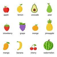 conjunto de frutas coloridas e bagas com nomes. ilustrações vetoriais. vetor