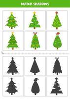 encontrar sombras de lindas árvores de natal selvagens. cartões para crianças. vetor