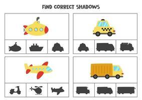 encontrar a sombra correta do meio de transporte. jogos de cartas de clipe para impressão para crianças. vetor