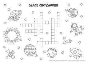 Palavras cruzadas de espaço em preto e branco para crianças com planetas do sistema solar, sol, foguete. vetor