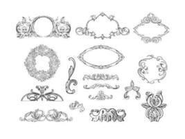 Pacote de vetores de quadros gravados e ornamentos