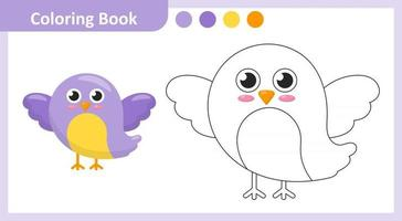 pássaro livro para colorir vetor