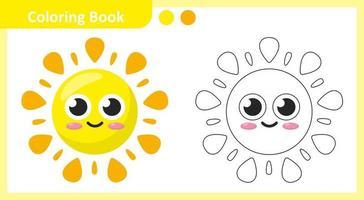 livro para colorir sol vetor