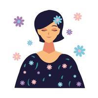 retrato de jovem com decoração de flores vetor