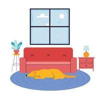 cachorro adorável na sala de estar vetor