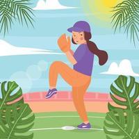 fundo de menina de softball de verão vetor