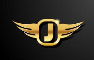 alfabeto de logotipo de letra j ouro para negócios e empresa com a cor amarela. brading e letras corporativas com design e asa em metal dourado vetor