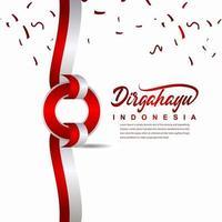 Dia da independência da Indonésia celebração modelo de vetor ilustração design criativo