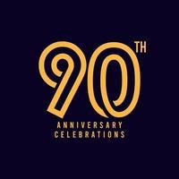 Ilustração de design de modelo de vetor de celebração do 90º aniversário