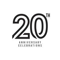Ilustração de design de modelo de vetor de celebração do 20º aniversário