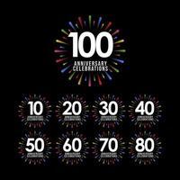 Aniversário de 100 anos definido ilustração de design de modelo de vetor de celebração