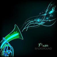 ilustração em vetor de um fundo abstrato com notas musicais.