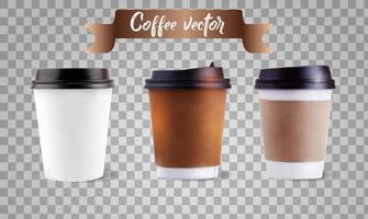 conjunto de xícara de café de papel em branco realista de vetor isolado. ilustração vetorial.