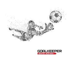 ilustração vetorial de goleiro de futebol abstrato pulando em círculos pretos vetor