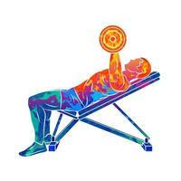 baú de treinamento de homem abstrato com halteres no supino do respingo de aquarelas ilustração vetorial de construção de corpo de tintas vetor
