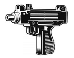 ilustração em vetor preto e branco de uma pistola automática israelense