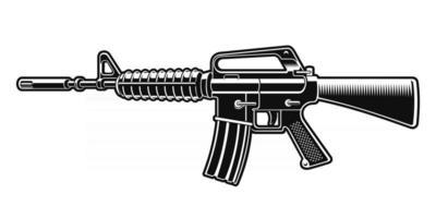 ilustração em vetor preto e branco do rifle m16
