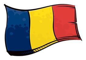 bandeira pintada do Chade balançando ao vento vetor