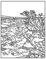 parque nacional do grand canyon com faixas em camadas de rocha vermelha, revelando milhões de anos de história geológica no arizona, estados unidos, mono line ou monoline, preto e branco, arte vetor