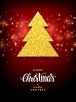 Árvore de Natal com design de férias de preenchimento de glitter vetor