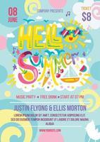Olá verão colorido convite banner cartaz vetor