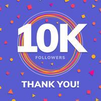 10k seguidores sites sociais postar cartão vetor