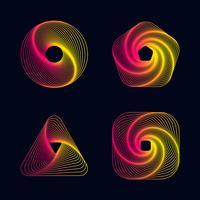 Linha de gradiente espiral projeta elementos