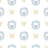 mão desenhada leão bonito e coroa ilustração vetorial padrão sem emenda menino. textura repetida simples com elementos escandinavos. modelo para têxteis de bebê e papel de embrulho vetor