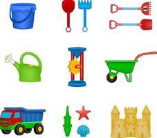 conjunto de brinquedos de praia isolados vetor