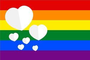 bandeira do mês do orgulho e corações vetor