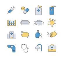 ícone do hospital de prevenção de epidemia de vírus. conjunto de design de estilo de contorno simples. vetor
