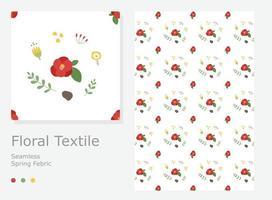 projeto do teste padrão com pequenas e bonitas flores de camélia e decorações. vetor
