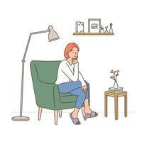 uma mulher está sentada no sofá para uma pessoa e fica pensativa. mão desenhada estilo ilustrações vetoriais. vetor