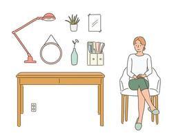 uma mulher sentada em uma cadeira e acessórios de interior. mão desenhada estilo ilustrações vetoriais. vetor