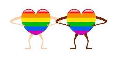 par de forma de coração de arco-íris humano. ilustração em vetor ícone orgulho lgbtq união